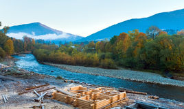 Autumn morning mountain river Royalty Free Stock Photo