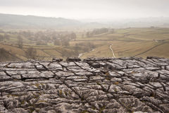 Autumn morning over liomestone pavement at Malham Cove looking a. Malham Cove looking along Malham Dale in Yorkshire Dales National Park Stock Photos