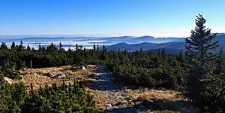 Autumn morning panorama in Krkonose mountains Royalty Free Stock Photography