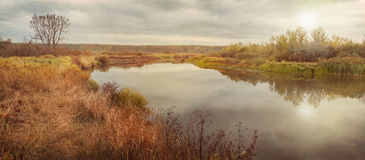 Autumn morning on the river in Polesie Royalty Free Stock Image
