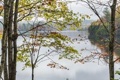 Autumn Morning on Waterbury Reservoir. A calm foggy Autumn morning on the Waterbury Reservoir in Waterbury, Vermont stock images