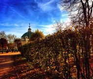 Autumn in Moscow park. Grot architecture russia Royalty Free Stock Photography