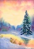 autumn mostu park mała akwarela krajobrazu Strumyk w zima lesie ilustracja wektor