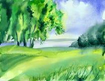 autumn mostu park mała akwarela krajobrazu Zdjęcie Royalty Free