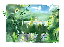 autumn mostu park mała akwarela krajobrazu Obrazy Royalty Free