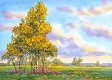 autumn mostu park mała akwarela krajobrazu Drzewa w wieczór polu Zdjęcie Royalty Free