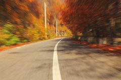 Autumn motion blurred road. In Transylvania Royalty Free Stock Photos