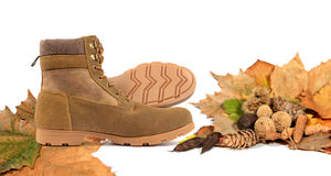 Autumn motive. Autumn boots with autumn elements on a white background Stock Images