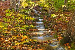 Autumn mountain cascade Royalty Free Stock Photos