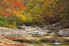 Autumn mountain cascade Stock Photography