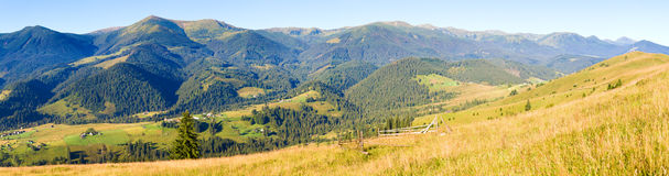 Autumn mountain country panorama Royalty Free Stock Images