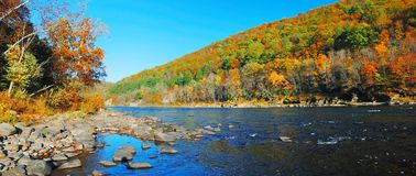 Autumn Mountain Delaware River Panorama Stock Images
