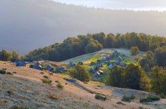 Autumn mountain farm view Royalty Free Stock Photos