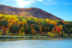Autumn Mountain with Hudson River. With colorful woods and blue sky. At Delaware River Royalty Free Stock Images