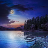 Autumn Mountain Lake In Coniferous Forest At Night Stock Photo