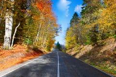 Autumn mountain landscape. asphalt road stock images