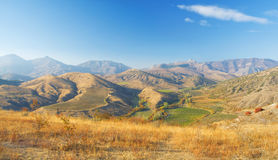 Autumn mountain landscape. beautiful vineyards Stock Photography