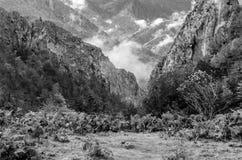 Autumn mountain landscape. Black and white mountain landscape in Asturias, northern Spain Stock Photo