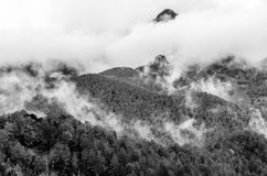 Autumn mountain landscape. Black and white mountain landscape in Asturias, northern Spain Royalty Free Stock Image