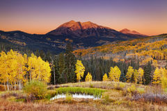 Autumn mountain landscape, Colorado, USA. East Beckwith Mountain at sunrise near Kebler Pass in West Elk Mountains, Colorado, USA royalty free stock image