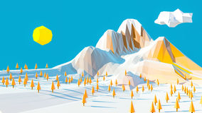 Autumn mountain landscape. 3d low poly landscaped with snow and trees royalty free illustration