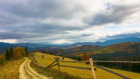 Autumn. Mountain Landscape with a Dirt Road stock video footage