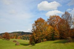 Autumn Mountain Landscape. With Green Field and Colorful Forest Stock Photos