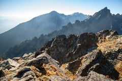 Autumn mountain landscape. Tatranska Lomnica. royalty free stock image