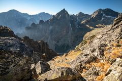 Autumn mountain landscape. Tatranska Lomnica. stock photo