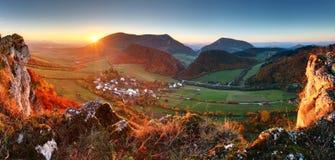 Autumn mountain  landscape - Village panorama Stock Photo