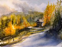 Autumn mountain landscape watercolors painted. Stock Images
