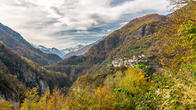 Autumn, mountain and nature. Autumn in Valle Anzasca, Monte Rosa royalty free stock photography