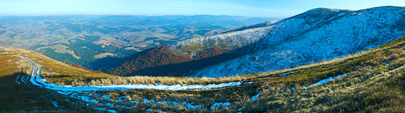 Autumn  mountain panorama with first winter snow Stock Photography
