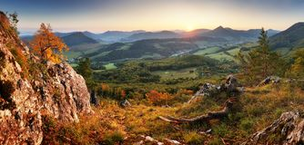 Autumn mountain panorama landcape with forest at sunset Stock Images