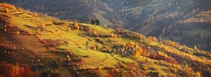 Autumn mountain panorama. October on Carpathian hills Royalty Free Stock Photo