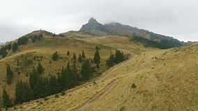 Autumn mountain ridge  in mist stock video footage