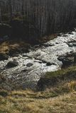 Autumn mountain river stream landscape. Mountain river autumn view. Autumn mountain river panorama royalty free stock photography