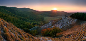 Autumn mountain in small Carpathian Stock Photos