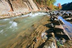 Autumn mountain stony river Royalty Free Stock Photography