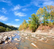 Autumn mountain stony river Stock Photo