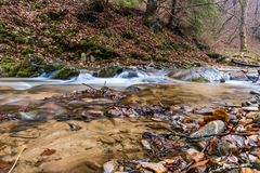 Autumn Mountain stream. Autumn Smoky Mountain stream long exposure silky water Royalty Free Stock Photo