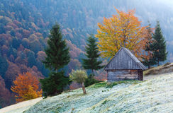 Autumn mountain view with shed Royalty Free Stock Photos
