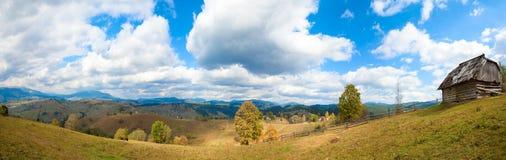 Autumn mountain village Stock Images