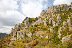 Autumn in mountains. Crimea. Mountain Southern Demerdzhi.Valley of Reductions Royalty Free Stock Photo