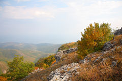 Autumn in mountains. Crimea. Mountain Southern Demerdzhi.Valley of Reductions Stock Photography