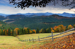 Autumn in mountains. The mountain autumn landscape with colorful forest Stock Images