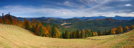 Autumn in mountains. The mountain autumn landscape with colorful forest Stock Image