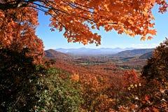 Autumn in the Mountains. View of distant mountains through autumn trees on Blue Ridge Parkway, North Carolina Stock Photos