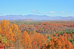 Autumn Mountains on Clear Day. View of distant mountains in autumn on Blue Ridge Parkway, North Carolina Stock Photography