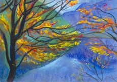 Autumn mountains. And clear lakes royalty free illustration